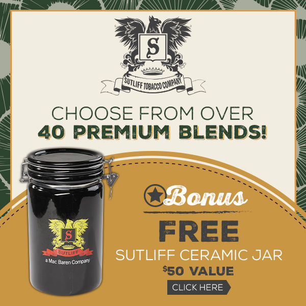 Free Ceramic Jar with Sutliff 16oz Bag Purchases