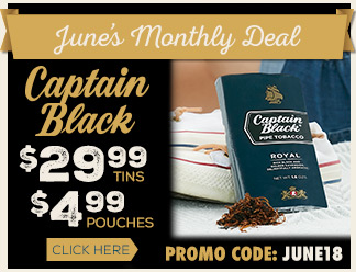 June 2018 Calendar Deal - Captain Black $29.99 Tins and $4.99 Pouches