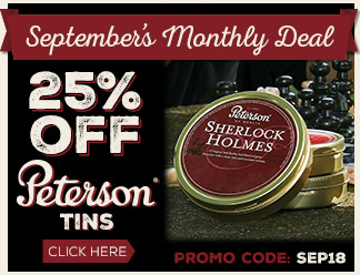 September 2018 Calendar Deal - 25% OFF Peterson Tins